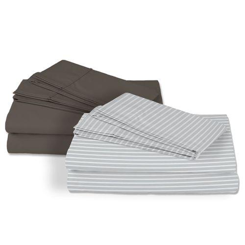 2 Pack Sábanas Satín 250 hilos 100% algodón - Gris/Gris Rayas