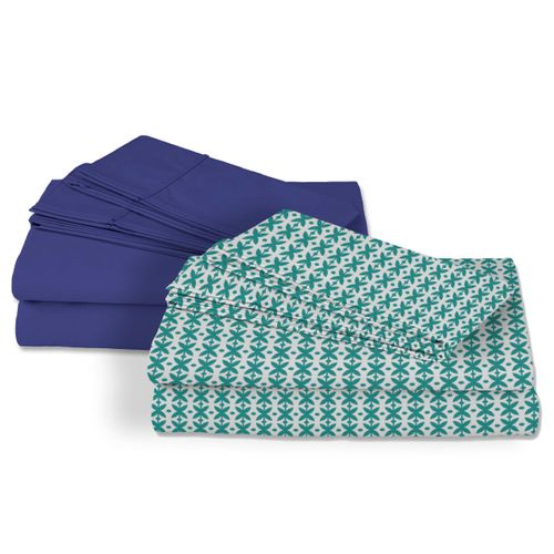 2 Pack Sábanas Satín 250 hilos 100% algodón - Indigo /Peten